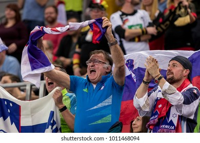 ZAGREB, CROATIA - JANUARY 15, 2018: European Championships in Men's Handball, EHF EURO 2018 main round match Slovenia vs. Germany 25:25. Slovenia fans on tribune celebrating goal