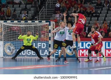 ZAGREB, CROATIA - JANUARY 17, 2018: EHF EURO Croatia 2018, Group (C) phase. Macedonia VS Germany.