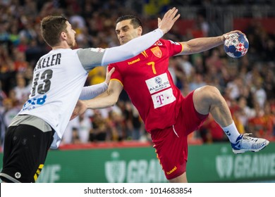 ZAGREB, CROATIA JANUARY 17, 2018: EHF EURO Croatia 2018, Group (C) phase. Germany VS Macedonia. Kiril LAZAROV (7) and Hendrik PEKELER (13)
