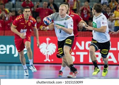 ZAGREB, CROATIA - JANUARY 17, 2018: European Championships in Men's Handball, EHF EURO 2018 main round match Germany vs. FYR Macedonia 25:25. In action Patrick WIENCEK (7)