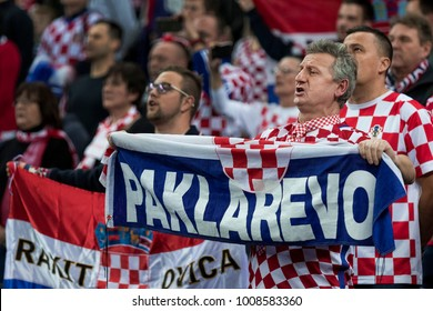 ZAGREB, CROATIA - JANUARY 18, 2018: European Championships in Men's Handball, EHF EURO 2018 main round match Croatia - Belarus 25:23. Croatian fans on tribune
