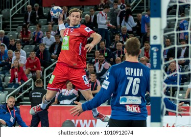 ZAGREB, CROATIA - JANUARY 18, 2018: European Championships in Men's Handball, EHF EURO 2018 main round match Serbia vs. Norway 27:32. In action Sander SAGOSEN  (5)