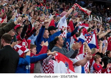 ZAGREB, CROATIA - JANUARY 20, 2018: European Championships in Men's Handball, EHF EURO 2018 main round match Croatia vs. Norway 32:28. Croatian fans on tribune