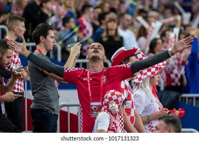 ZAGREB, CROATIA - JANUARY 20, 2018: European Championships in Men's Handball, EHF EURO 2018 main round match Croatia vs. Norway 32:28. Croatian fans on tribune