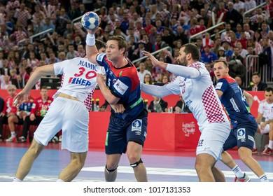 ZAGREB, CROATIA - JANUARY 20, 2018: European Championships in Men's Handball, EHF EURO 2018 main round match Croatia vs. Norway 32:28. In action Sander SAGOSEN  (5)