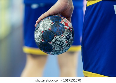 ZAGREB, CROATIA - JANUARY 20, 2018: European Championships in Men's Handball, EHF EURO 2018 main round match Sweden vs. France 17:23. Player holding the handball ball