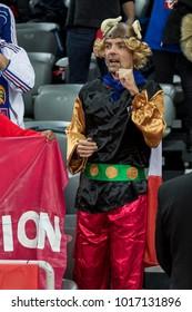 ZAGREB, CROATIA - JANUARY 20, 2018: European Championships in Men's Handball, EHF EURO 2018 main round match Sweden vs. France 17:23. France fan dressed as Asterix