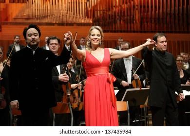 ZAGREB, CROATIA - JANUARY 21: World opera star, mezzo-soprano Elina Garanca held a concert in the Concert Hall Lisinski on January 21, 2013 in Zagreb, Croatia.