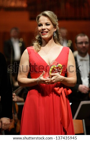 ZAGREB, CROATIA - JANUARY 21: World opera star, mezzo-soprano Elina Garanca held a concert in the Concert Hall Lisinski on January 21, 2013 in Zagreb, Croatia.
