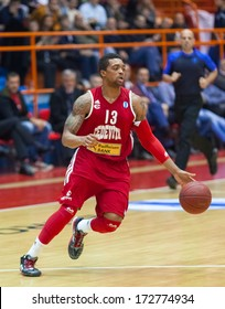 ZAGREB, CROATIA - JANUARY 23, 2014: Basketball Eurocup, Last 32 Round 3 - Cedevita Zagreb VS Besiktas Integral Forex Istanbul. Allan RAY (13) leading the ball.