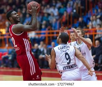 ZAGREB, CROATIA - JANUARY 23, 2014: Basketball Eurocup, Last 32 Round 3 - Cedevita Zagreb VS Besiktas Integral Forex Istanbul. Josh SELBY (32), Chris LOFTON (9) and Ryan BROEKHOFF (10).