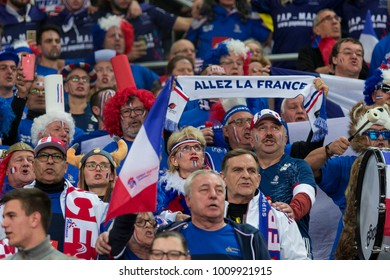 ZAGREB, CROATIA - JANUARY 24, 2018: European Championships in Men's Handball, EHF EURO 2018 main round match Croatia vs. France 27:30. France fans cheering for their team
