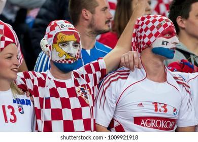 ZAGREB, CROATIA - JANUARY 24, 2018: European Championships in Men's Handball, EHF EURO 2018 main round match Croatia vs. France 27:30. Croatian fans