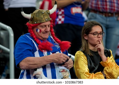 ZAGREB, CROATIA - JANUARY 24, 2018: European Championships in Men's Handball, EHF EURO 2018 main round match Croatia vs. France 27:30. France fan dressed as Obelix