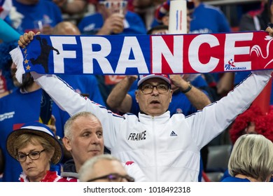 ZAGREB, CROATIA - JANUARY 24, 2018: EHF EURO Croatia 2018, Main round - Group I Zagreb. Croatia VS France. French supporter on stand.