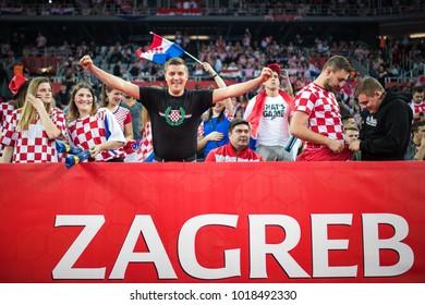 ZAGREB, CROATIA - JANUARY 24, 2018: EHF EURO Croatia 2018, Main round - Group I Zagreb. Croatia VS France. Croatian fans on stands.