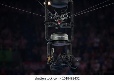 ZAGREB, CROATIA - JANUARY 24, 2018: EHF EURO Croatia 2018, Main round - Group I Zagreb. Croatia VS France. Spidercam recording the mach.
