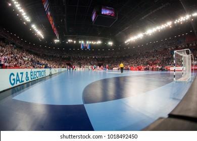 ZAGREB, CROATIA - JANUARY 24, 2018: EHF EURO Croatia 2018, Main round - Group I Zagreb. Croatia VS France.
