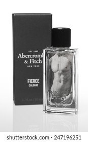 ZAGREB, CROATIA - JANUARY 25, 2015: Bottle of Abercrombie Fierce men's fragrance. Cologne was first introduced in 2002, sold in over $200 million and is today  signature scent of Abercrombie & Fitch.