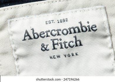 ZAGREB, CROATIA - JANUARY 25, 2015: Shirt label of Abercrombie & Fitch brand. A&F is American retailer supplying casual wear for young consumers with over 400 USA locations and several around world.