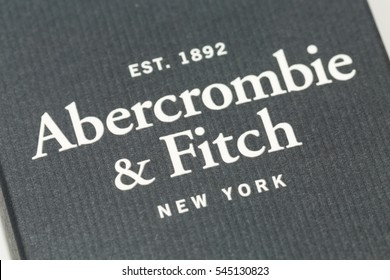 ZAGREB, CROATIA - JANUARY 25, 2015: Label of Abercrombie Fierce men's fragrance. Cologne was first introduced in 2002, sold in over $200 million and is signature scent of Abercrombie & Fitch brand.
