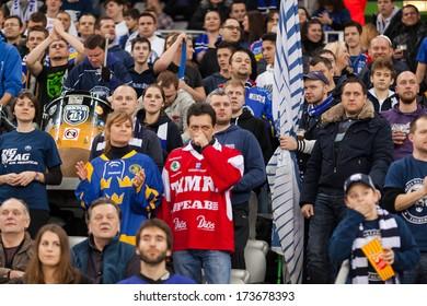 ZAGREB, CROATIA - JANUARY 27, 2014: KHL league - Medvescak Zagreb VS Severstal Cherepovets. Medvescak supporters on stands.