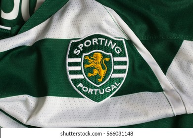 ZAGREB, CROATIA - JANUARY 28, 2017. - Portuguese football club Sporting Clube de Portugal emblem on Sporting Clube de Portugal jersey.