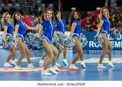 ZAGREB, CROATIA - JANUARY 28, 2018: European Championships in Men's Handball, EHF EURO 2018 main round match Spain - Sweden 29:23. Cheerleaders dancing in the time out