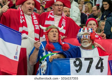 ZAGREB, CROATIA - JANUARY 28, 2018: European Championships in Men's Handball, EHF EURO 2018 finals France - Denmark 32:29. France fan dressed as Obelix