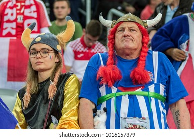ZAGREB, CROATIA - JANUARY 28, 2018: European Championships in Men's Handball, EHF EURO 2018 finals France - Denmark 32:29. France fans dressed as Asterix and Obelix