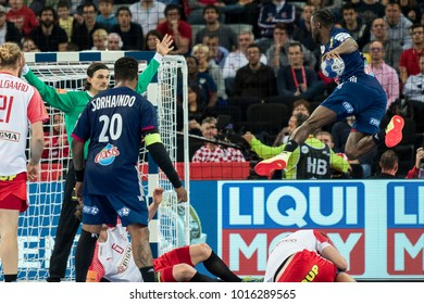 ZAGREB, CROATIA - JANUARY 28, 2018: European Championships in Men's Handball, EHF EURO 2018 finals France - Denmark 32:29. In action ABALO Luc (19)