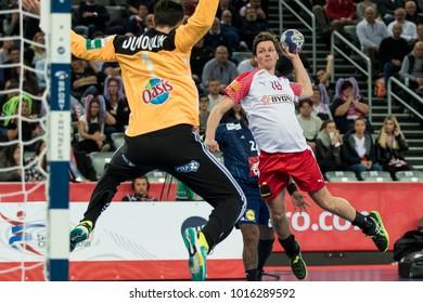 ZAGREB, CROATIA - JANUARY 28, 2018: European Championships in Men's Handball, EHF EURO 2018 finals France - Denmark 32:29. In action LINDBERG Hans O. (18)