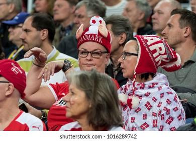 ZAGREB, CROATIA - JANUARY 28, 2018: European Championships in Men's Handball, EHF EURO 2018 finals France - Denmark 32:29. Denmark fans on tribune