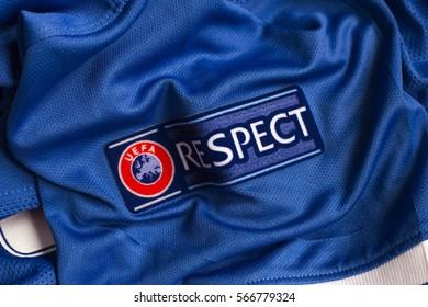 ZAGREB, CROATIA - JANUARY 29, 2017. - UEFA respect emblem on football jersey.