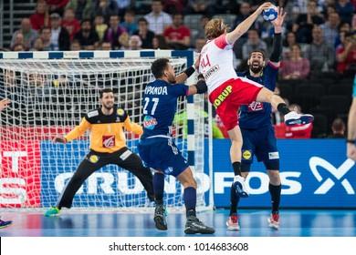 ZAGREB, CROATIA - JANUARY 29, 2018: EHF EURO Croatia 2018, Bronze medal match. France VS Denmark. Mikkel HANSEN (24) shooting at goal.