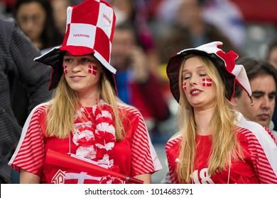ZAGREB, CROATIA - JANUARY 29, 2018: EHF EURO Croatia 2018, Bronze medal match. France VS Denmark. Danish fans on stands.