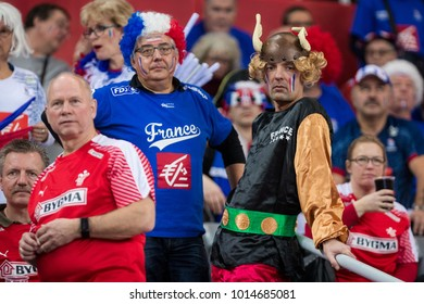 ZAGREB, CROATIA - JANUARY 29, 2018: EHF EURO Croatia 2018, Bronze medal match. France VS Denmark. French fans on stands.