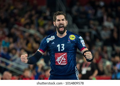 ZAGREB, CROATIA - JANUARY 29, 2018: EHF EURO Croatia 2018, Bronze medal match. France VS Denmark. Nikola KARABATIC (13) celebrating goal.