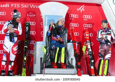ZAGREB, CROATIA - JANUARY 3, 2018 : Award ceremony of the Audi FIS Alpine Ski World Cup Women's Slalom. 1st Shiffrin Mikaela, Usa, 2nd Holdener Wendy, Sui, 3d Hansdotter Frida, Swe.