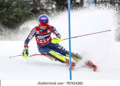 ZAGREB, CROATIA - JANUARY 3, 2018 : Shiffrin Mikaela of Usa at the Audi FIS Alpine Ski World Cup Women's Slalom, Snow Queen Trophy 2018 in Zagreb, Croatia.