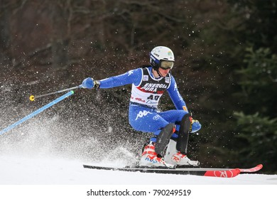 ZAGREB, CROATIA - JANUARY 3, 2018 : Azzola Michela of Ita competes during the Audi FIS Alpine Ski World Cup Women's Slalom, Snow Queen Trophy 2018 in Zagreb, Croatia.
