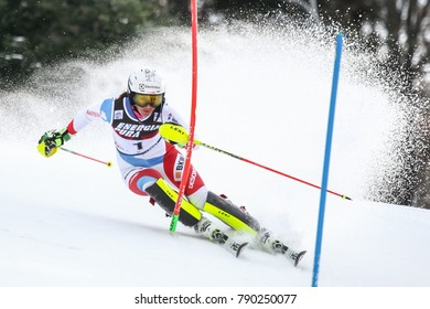 ZAGREB, CROATIA - JANUARY 3, 2018 : Holdener Wendy of Sui competes during the Audi FIS Alpine Ski World Cup Women's Slalom, Snow Queen Trophy 2018 in Zagreb, Croatia.