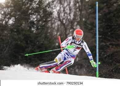 ZAGREB, CROATIA - JANUARY 3, 2018 : Vlhova Petra of Svk competes during the Audi FIS Alpine Ski World Cup Women's Slalom, Snow Queen Trophy 2018 in Zagreb, Croatia.