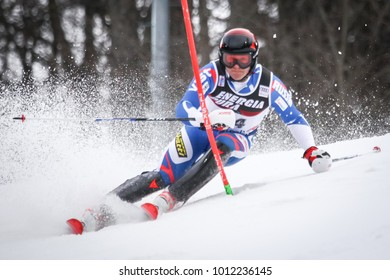 ZAGREB, CROATIA - JANUARY 4, 2018 : Trikhichev Pavel of Rus competes during the Audi FIS Alpine Ski World Cup Mens Slalom, Snow Queen Trophy 2018 in Zagreb, Croatia.