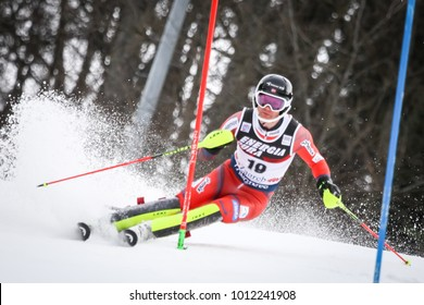 ZAGREB, CROATIA - JANUARY 4, 2018 : Nordbotten Jonathan of Nor competes during the Audi FIS Alpine Ski World Cup Mens Slalom, Snow Queen Trophy 2018 in Zagreb, Croatia.