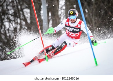 ZAGREB, CROATIA - JANUARY 4, 2018 : Hirscher Marcel of Aut competes during the Audi FIS Alpine Ski World Cup Mens Slalom, Snow Queen Trophy 2018 in Zagreb, Croatia.