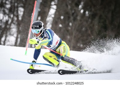 ZAGREB, CROATIA - JANUARY 4, 2018 : Myhrer Andre of Swe competes during the Audi FIS Alpine Ski World Cup Mens Slalom, Snow Queen Trophy 2018 in Zagreb, Croatia.