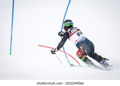 ZAGREB, CROATIA - JANUARY 4, 2018 : Breitfuss Kammerlander S. of Bol competes during the Audi FIS Alpine Ski World Cup Mens Slalom, Snow Queen Trophy 2018 in Zagreb, Croatia.