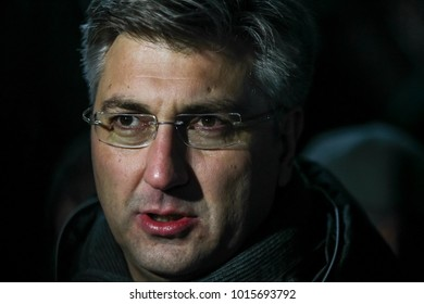 ZAGREB, CROATIA - JANUARY 4, 2018 : Croatian Prime Minister Andrej Plenkovic gives a statement to journalists at the Audi FIS Alpine Ski World Cup Men's Slalom 2018 in Zagreb, Croatia.
