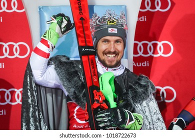 ZAGREB, CROATIA - JANUARY 4, 2018 : First placed Marcel Hirscher of Austria on the award ceremony of the Audi FIS Alpine Ski World Cup Men's Slalom, Snow Queen Trophy 2018 in Zagreb, Croatia.